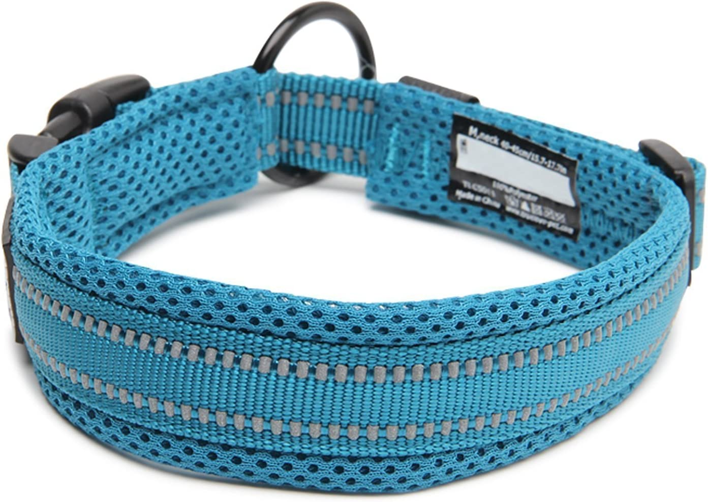 Neck 35-40cm Comfy And Soft Adjustable Collar For Small//Medium//Large Dogs #3 S Vivi Bear Padded 3M Night Vision Reflective Stripes Soft Breathable Mesh Dogs Collar Easy Buckle Design Green 8 Sizes