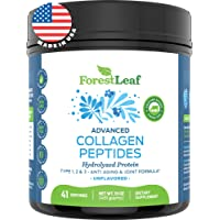 Advanced Hydrolyzed Collagen Peptides - Unflavored Protein Powder - Mixes Into Drinks...