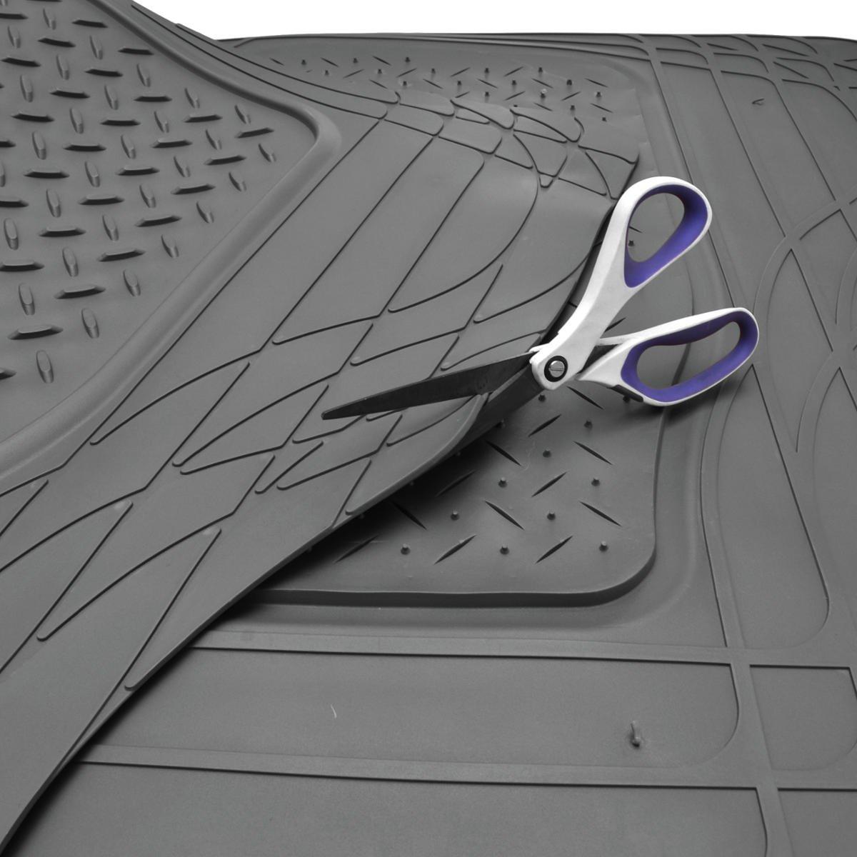 Odorless MT-773-884-GR Motor Trend Flextough Rubber Car Floor Mats /& Cargo Trunk Mat Set Black Heavy Duty Extreme Duty Gray