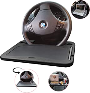 Car Steering Wheel Desk -XINDELL Auto Travel Table for Laptop Tablet IPad or Notebook Workstation Food Snack Eating Tray on Wheel for Driver Travelers Work or Dining Holder fits Most Vehicles
