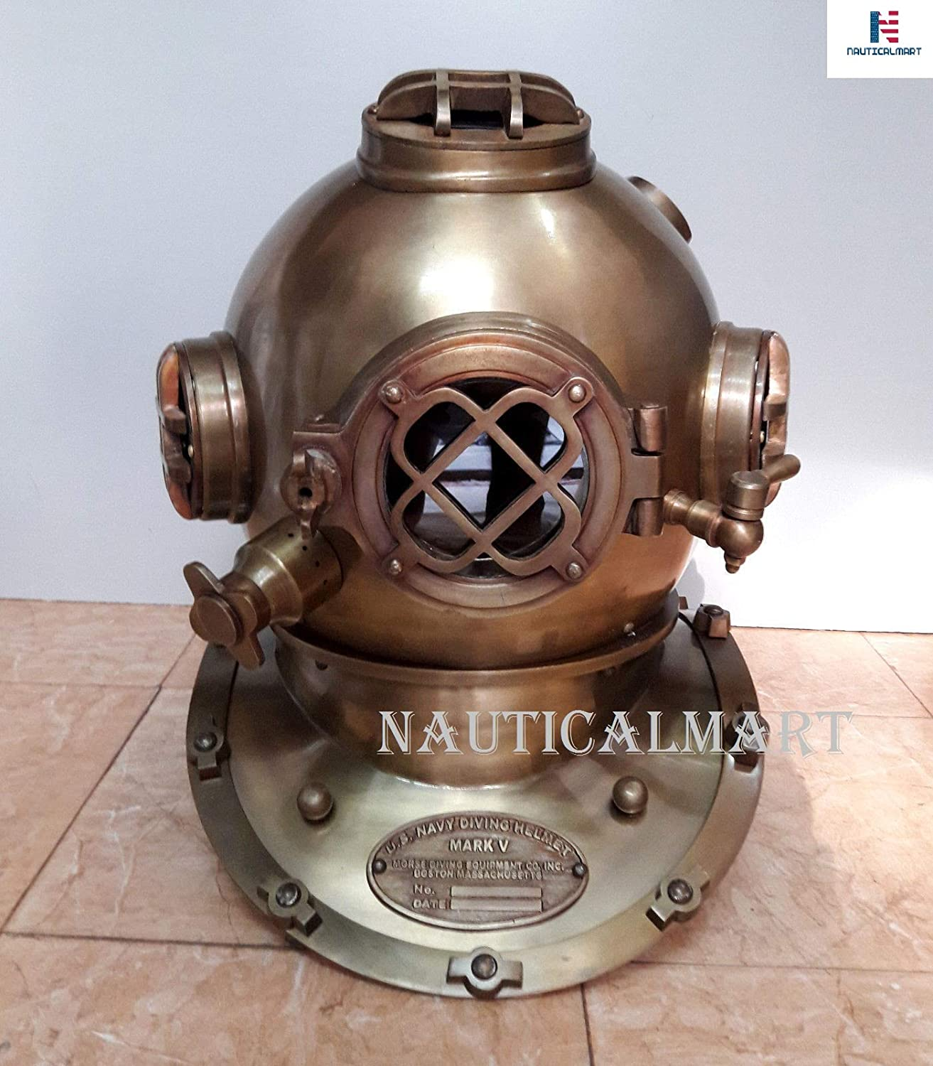 "Antique Scuba 18/"" Diving Helmet US Navy Mark V Vintage Divers Helmet Replica"