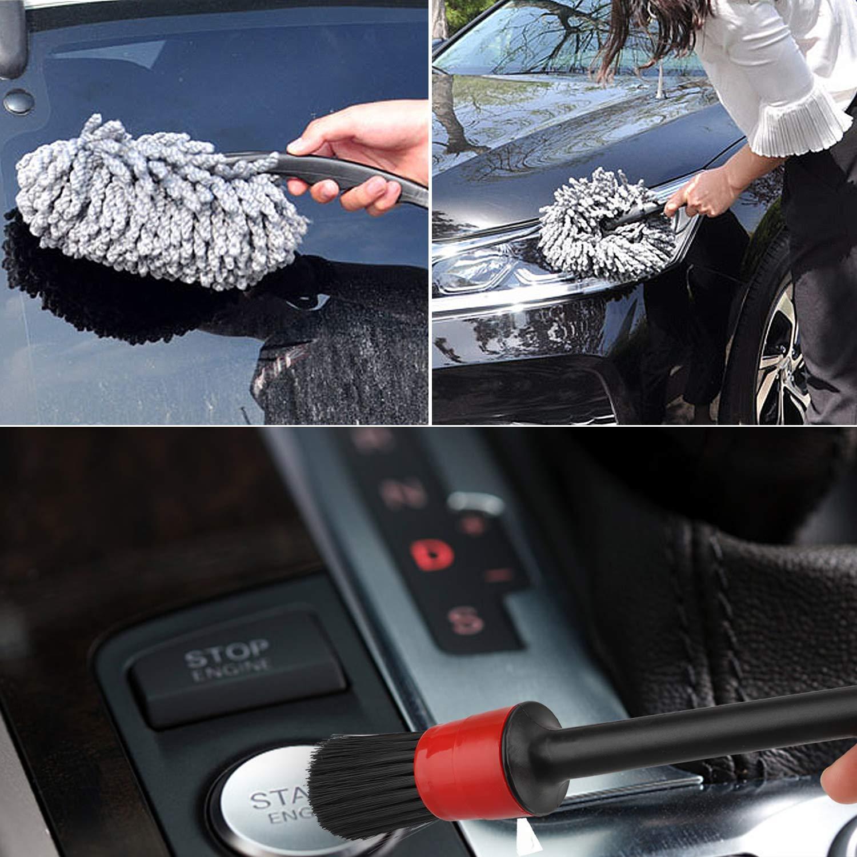 Soft Bristle EEEKit Car Wheel Cleaning Brush Flexible Rim Wheel Washing Brush Motorcycles Free Bending Rims Multipurpose Use Brush for Wheels Exhaust Tips Automotive