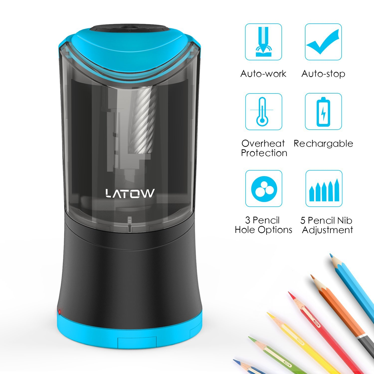 Electric Pencil Sharpener with Durable Helical Blade to Fast Sharpen, LATOW USB Rechargeable Auto Stop Sharpener for 6-12mm Diameter Pencils, Suitable for School Office Home (Battery Included)
