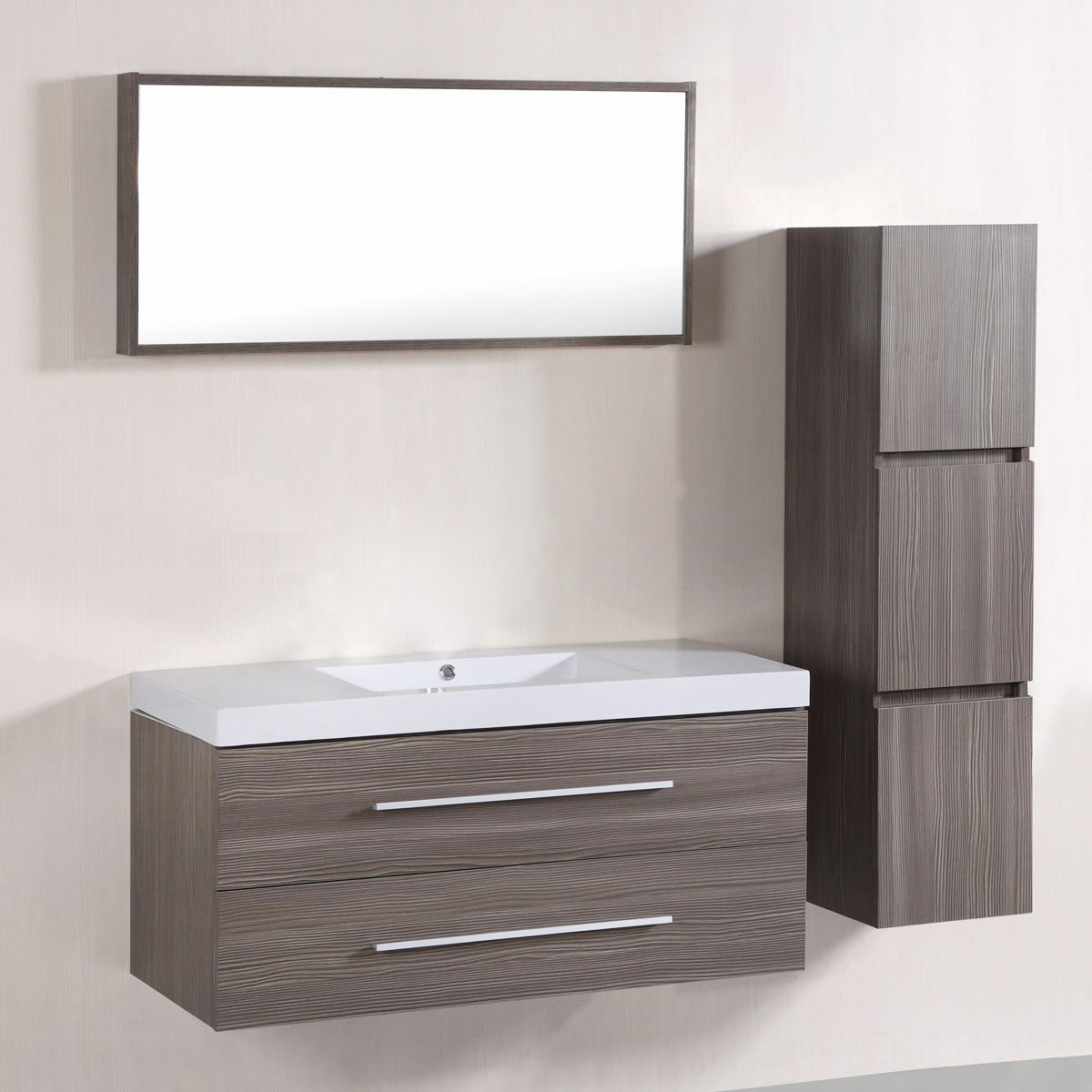 Decoraport 40 In. Wall Mount Bathroom Vanity Set with Single Sink and Mirror (A-T5167A)