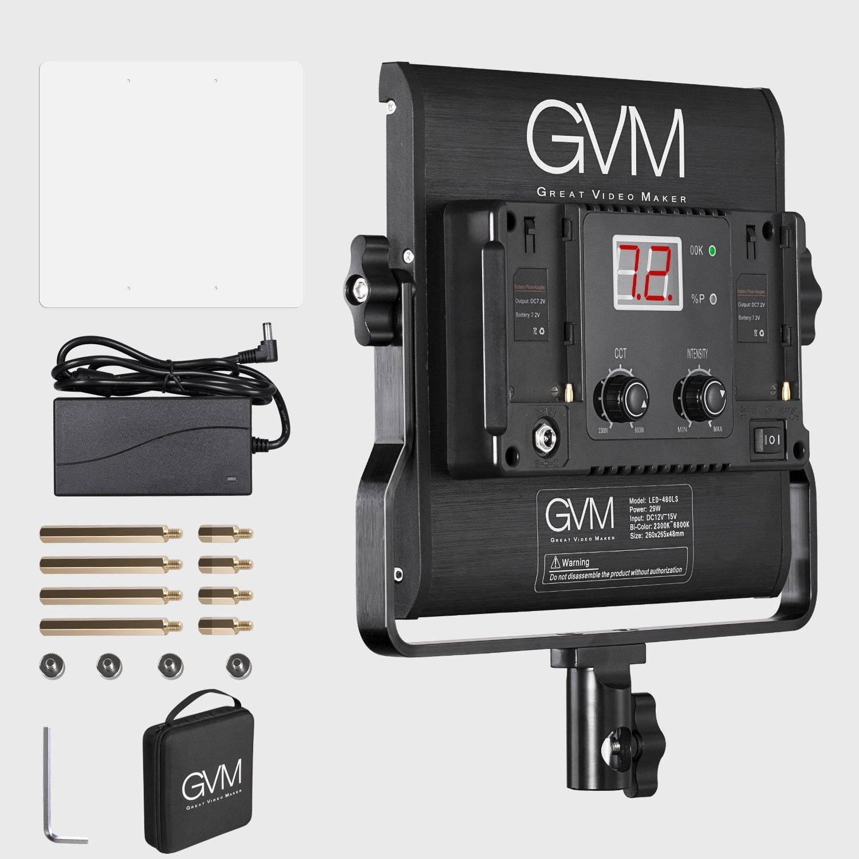 GVM Slim LED Panel Video Light 480pcs 29W CRI97+ TLCI97+ for 4500K Variable Bi-color Balanced LED Continuous Video Light with Digital