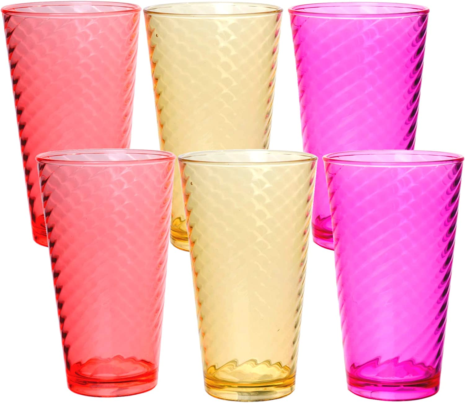 Swirl Break Resistant Plastic Beverage Tumbler - Colored Drinking Glasses for BBQ Outdoor Picnic Party, Assorted Colors, 17oz, Set of 6