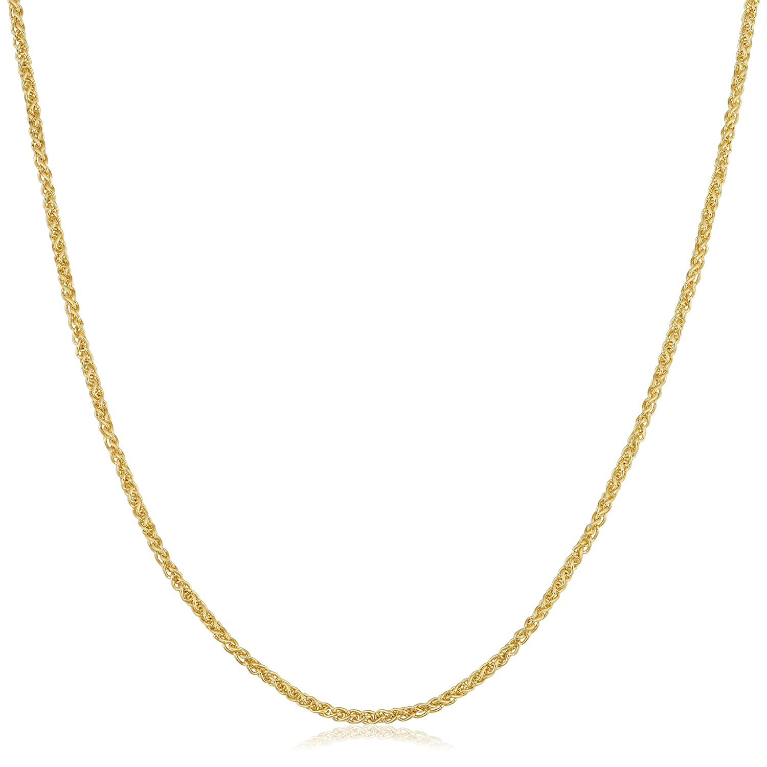 14k Yellow Gold Filled 1.5mm Round Wheat Chain Necklace Fremada KGFRDW040-22