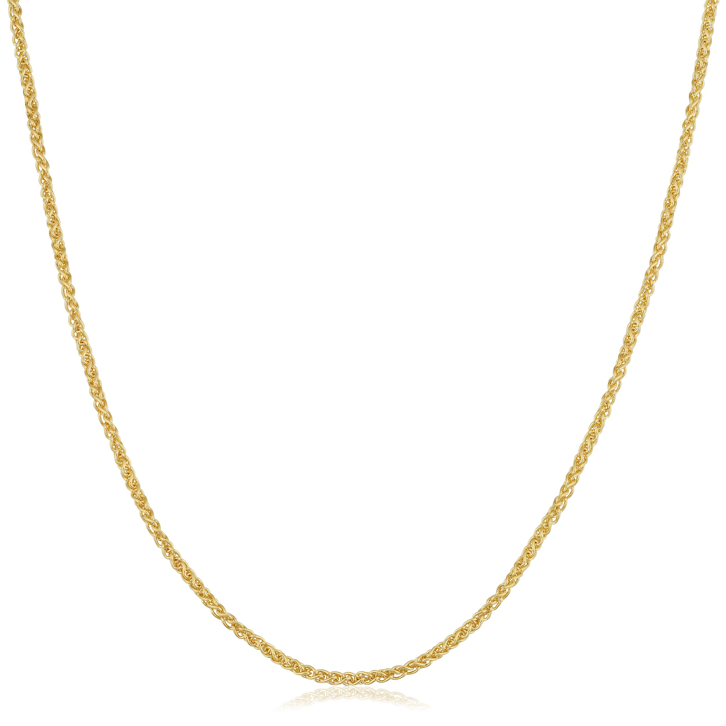 Kooljewelry 14k Yellow Gold Filled 1.5 mm Round Wheat Chain Necklace (22 inch)