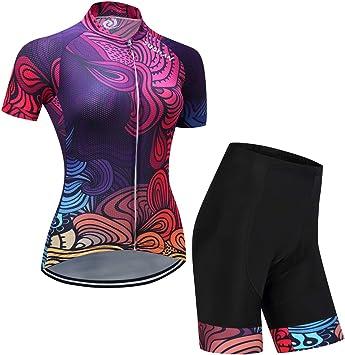 ZEMER Maillot Ciclismo Mujer Cclismo Conjunto De Ropa + Culote Pantalones Acolchado 19D para Bicicleta Verano Deportes Al Aire Libre: Amazon.es: Deportes y aire libre