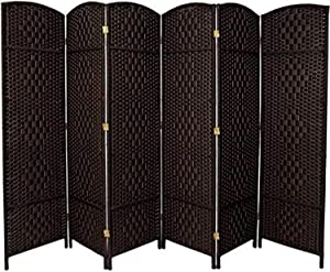 Oriental Furniture 6 ft. Tall Diamond Weave Fiber Room Divider - Black - 6 Panel