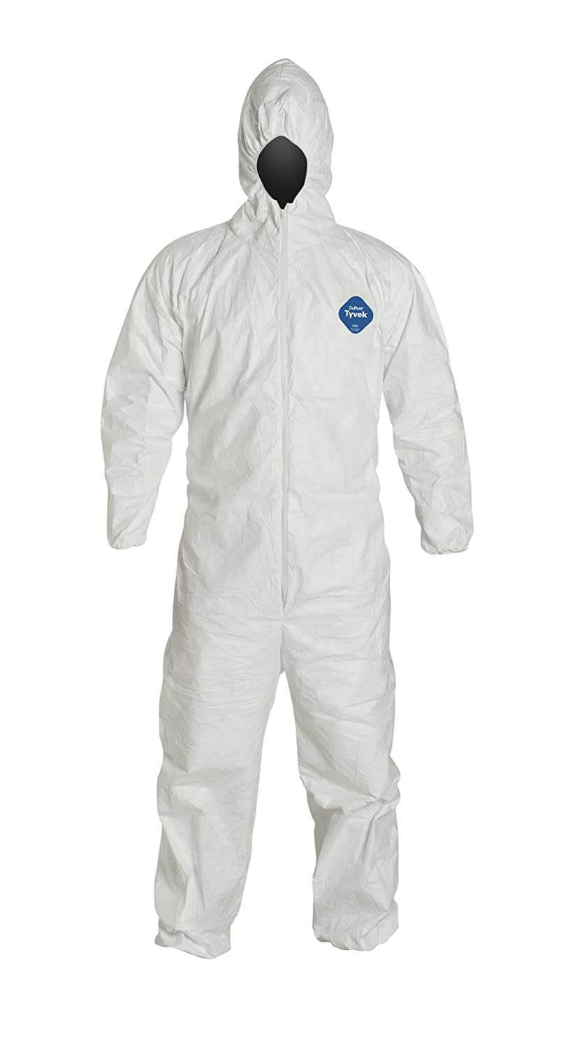 DuPont TY127S Tyvek Protective Coverall with Hood with Safety Instructions, Elastic Cuff, Large, White (Retail Package of 1)