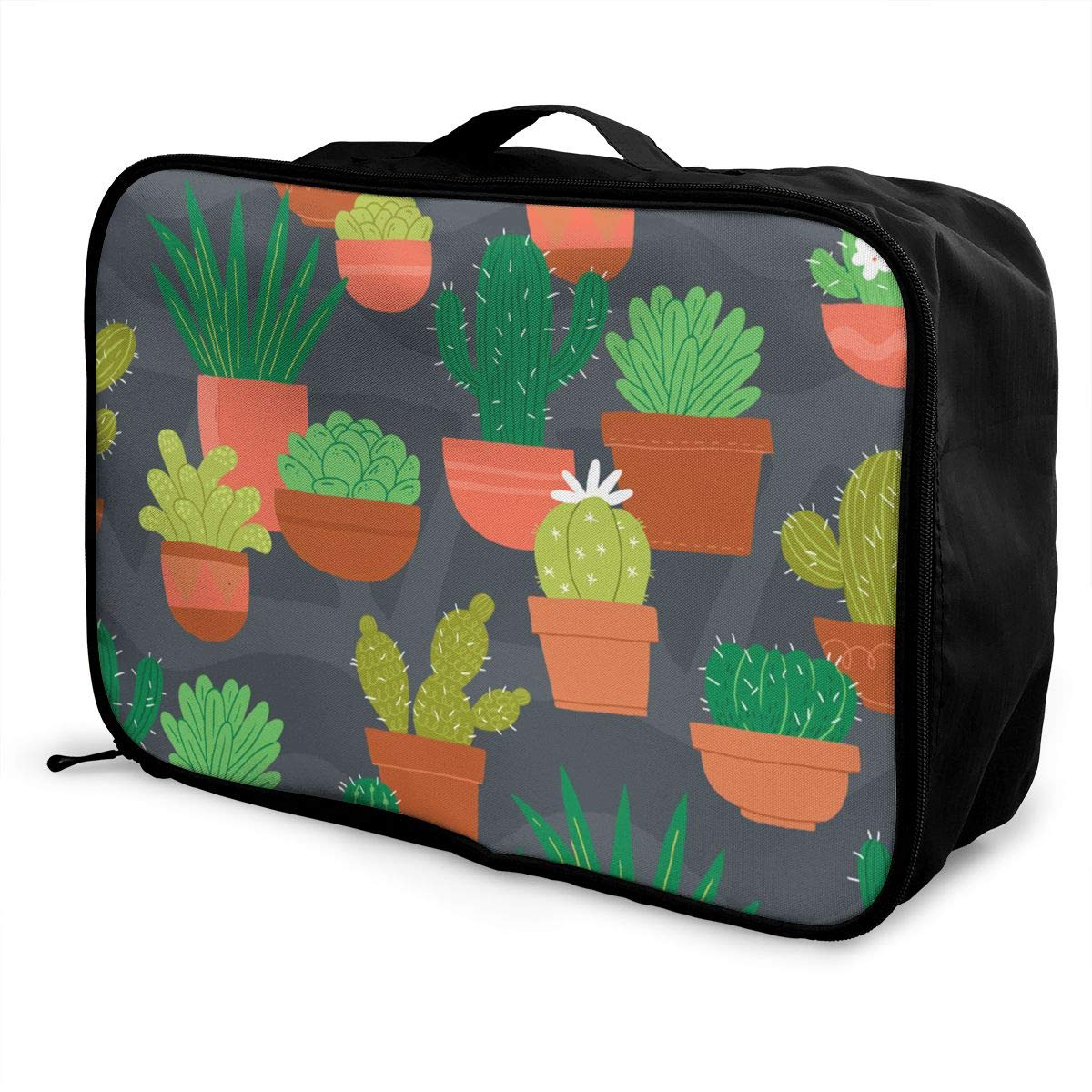 Cactus Flower Pot Travel Duffel Bag Waterproof Fashion Lightweight Large Capacity Portable Luggage Bag