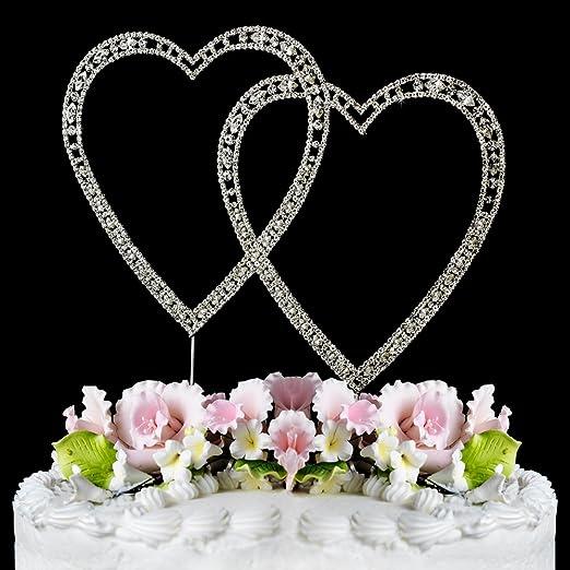 Romantic Crystal Rhinestone Silver Double Heart Cake Topper Weddin//Valentine Day