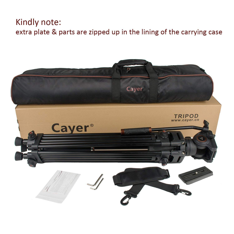 Plus 1 Bonus Quick Release Plate Carga m/áxima 13.2 LB Cayer 72 Pulgadas BV30L-Camcorder Sistema de tr/ípode Pierna de Aluminio K3 Fluid Head DSLR Shooting Sistema de tr/ípode de Video