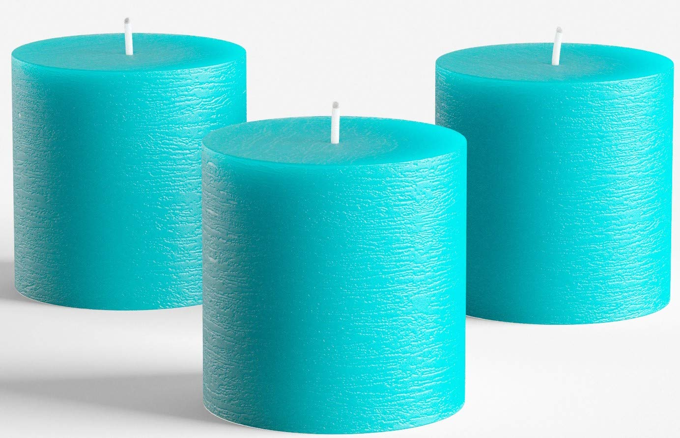 """Set of 3 Turquoise Pillar Candles 3"""" x 3"""" Unscented Rustic for Wedding Home Decoration Restaurants Spa Church Candles Smokeless and Dripless"""