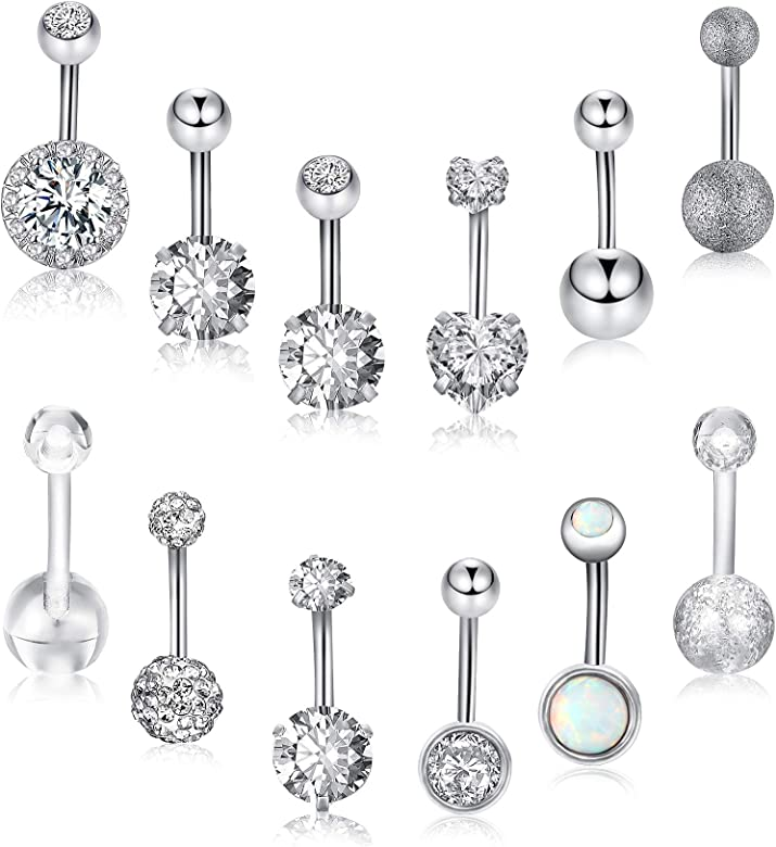 14G Stainless Steel Zircon Crystal Bar Barbell Nipple Ring Piercing Jewelry UK W