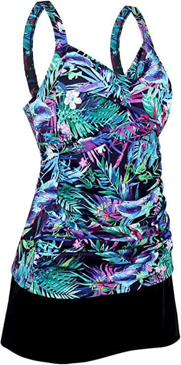 Hilor Womens Plus Size Swimwear Floral Tankini Set Drawtring Modest Two Piece Swimsuit