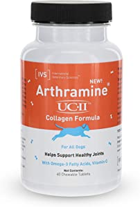 International Veterinary Sciences IVS Arthramine UC-II Undenatured Type II Collagen Healthy Joints Glucosamine Supplement with Fish Oil and Vitamin C for All Dogs, Made in The USA, 60 Count