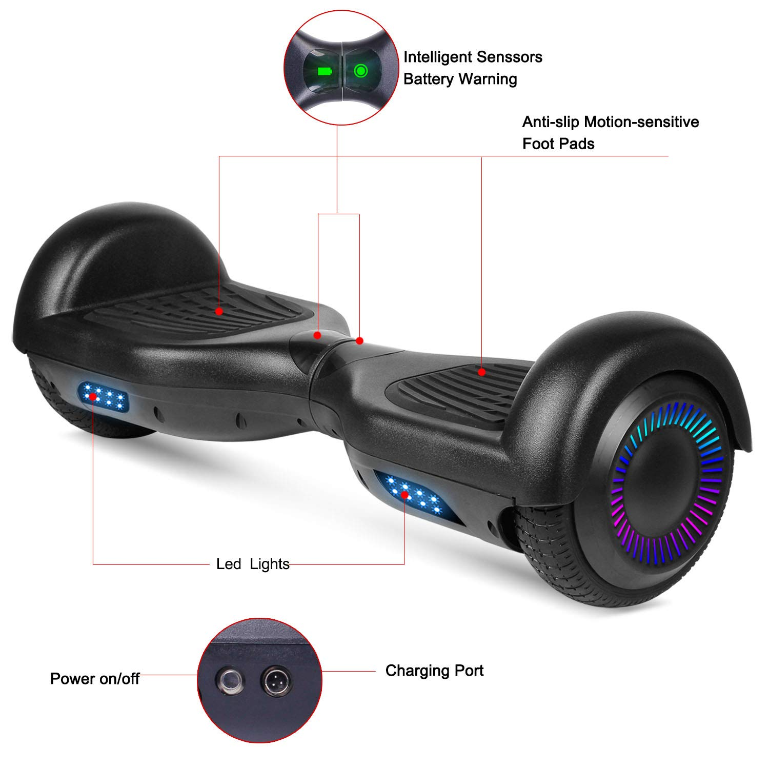SWEETBUY Hoverboards UL Certified 6.5 Smart Scooter Two-Wheel self Balancing Electric Scooter Light Free Bag and Charger Included by SWEETBUY (Image #2)