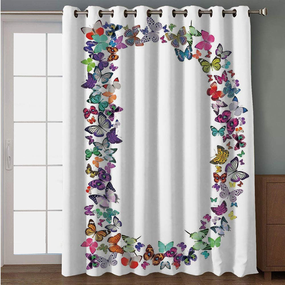 "iPrint Blackout Patio Door Curtain,Letter D,Magical Creatures Flying Monarch Butterflies Fragility Grace Artistic Collection Decorative,Multicolor,for Sliding & Patio Doors, 102"" W x120 L"