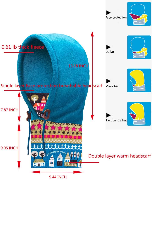 SMTD Unisex Winter Running Scarf Sledding Warm Women Balaclava Hat Ski Men Fleece Face Cover Mask Cap