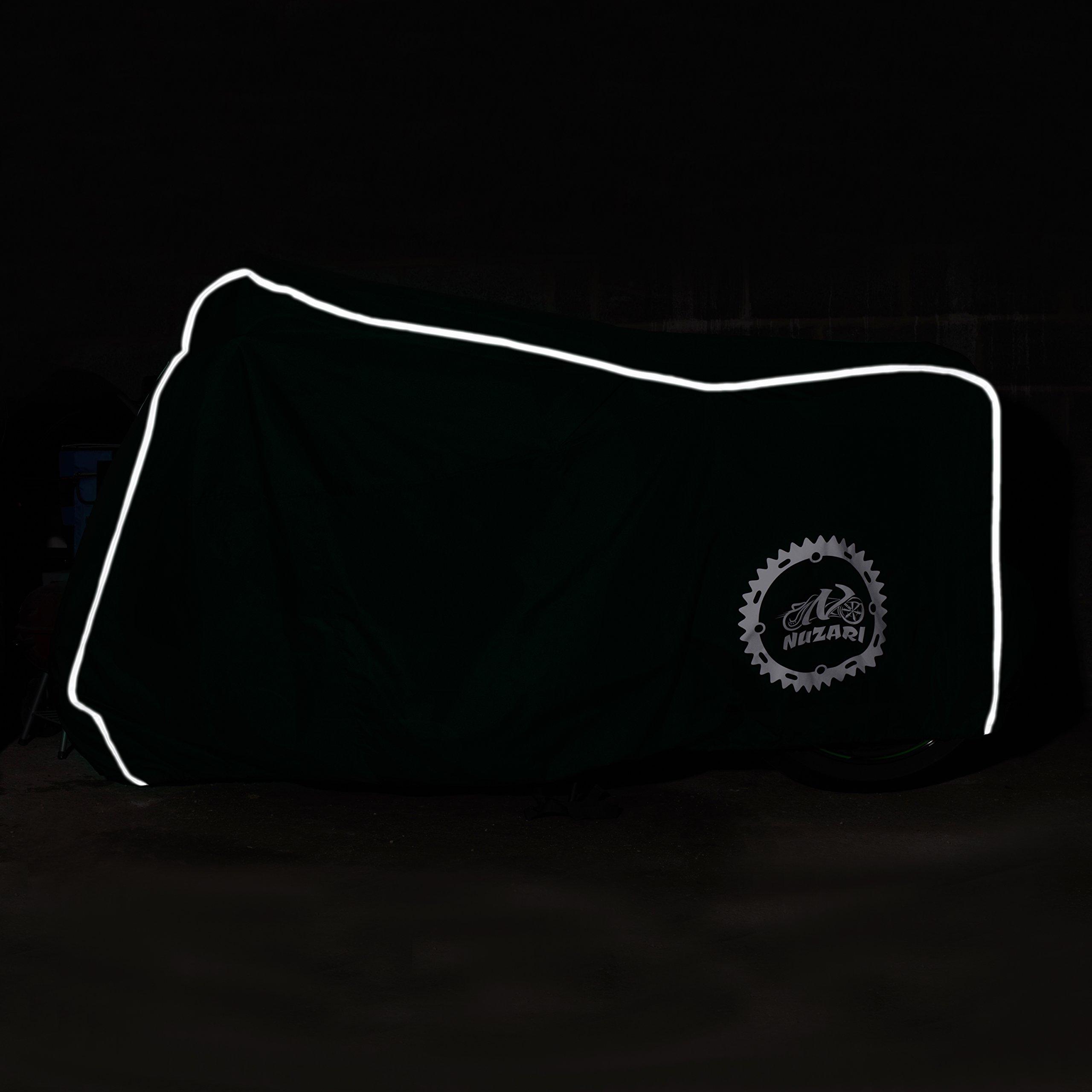 Premium Grade Weather Resistant Motorcycle Covers. Waterproof High Grade Polyester w/Soft Screen & Heat Resistant Shield Lockable fabric, Durable & Long Lasting. Sportbikes & Cruisers (medium black) by Nuzari (Image #4)