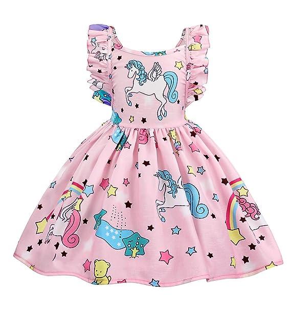 AmzBarley Vestido de Unicornio para niñas Vestidos de Princesa para niños Vestidos de Fiesta para Arriba: Amazon.es: Ropa y accesorios