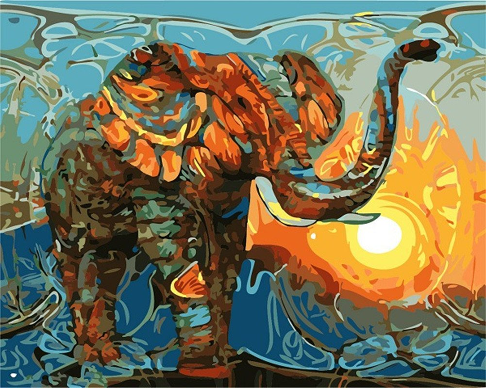 Pintura por Numeros Con Marco (ITM24974) elefante