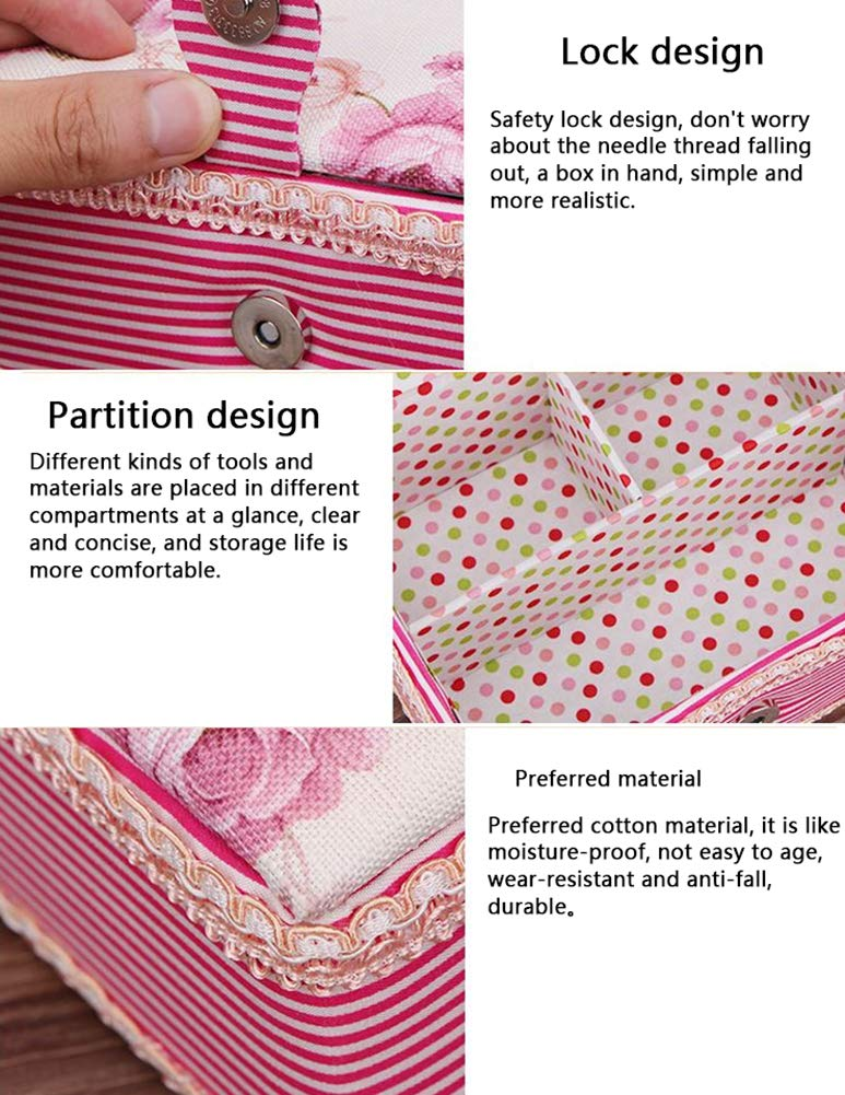 Liitrton Large Sewing Baskets with 3 Compartments Sewing Supplies Storage Box Organizer for Mom and Girl Flower