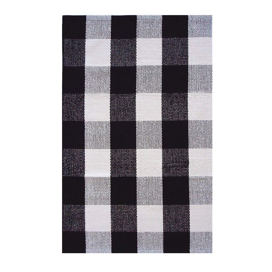 Ukeler Retro Farmhouse Tartan Checkered Plaid Rugs Door Mat - 100% Cotton - Black/White Hand-Woven Floor Rugs Washable Rag Throw Rugs for Kitchen/Bathroom/Entry Way/Laundry Room, 23.6''x35.4''