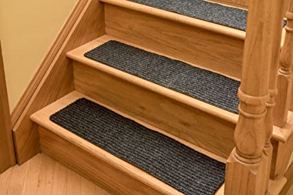 Non Slip Carpet Stair Treads - Set of 13 Premium Charcoal non skid indoor  treads for wood stairs (30 inch X 8 inch)