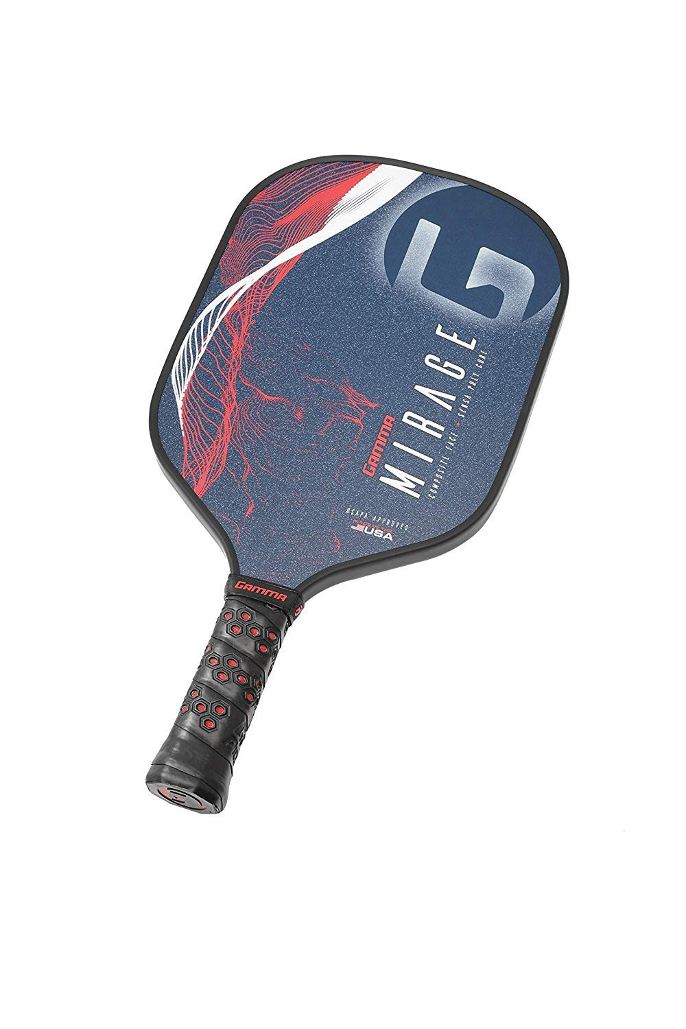 GAMMA Mirage Composite Pickleball Paddle: Pickle Ball Paddles for Indoor & Outdoor Play - USAPA Approved Racquet for Adults & Kids - Red/White/Blue by Gamma (Image #7)