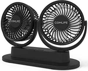Dual Head Car Fan, USB Car Cooling Fan Car Dashboard fan Air Circulator Fan With Strong Wind, 3 Speeds, Ultra Quiet Wall Mountable Fan for Sedan SUV RV, Office Home Desk and More