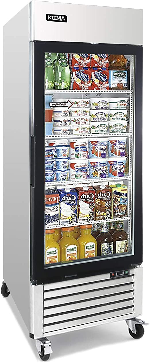 Amazon Com Commercial Single Glass Door Merchandiser Refrigerator Kitma 19 1 Cu Ft Merchandiser Display Case With Led Lighting For Restaurants Fridge For Commercial 33 F 38 F Kitchen Dining