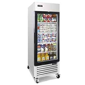 Commercial Upright Merchandiser Refrigerator - KITMA 19.1 Cu.Ft Single Glass Doors Display Drink Cooler with LED Lighting, 33°F - 38°F