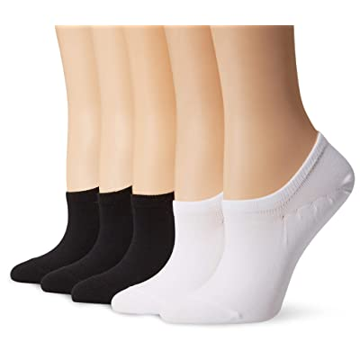 Brand - Daily Ritual Women's 5-Pack Lightweight Microfiber Nylon No-Show Socks, Black/White 6-9: Clothing
