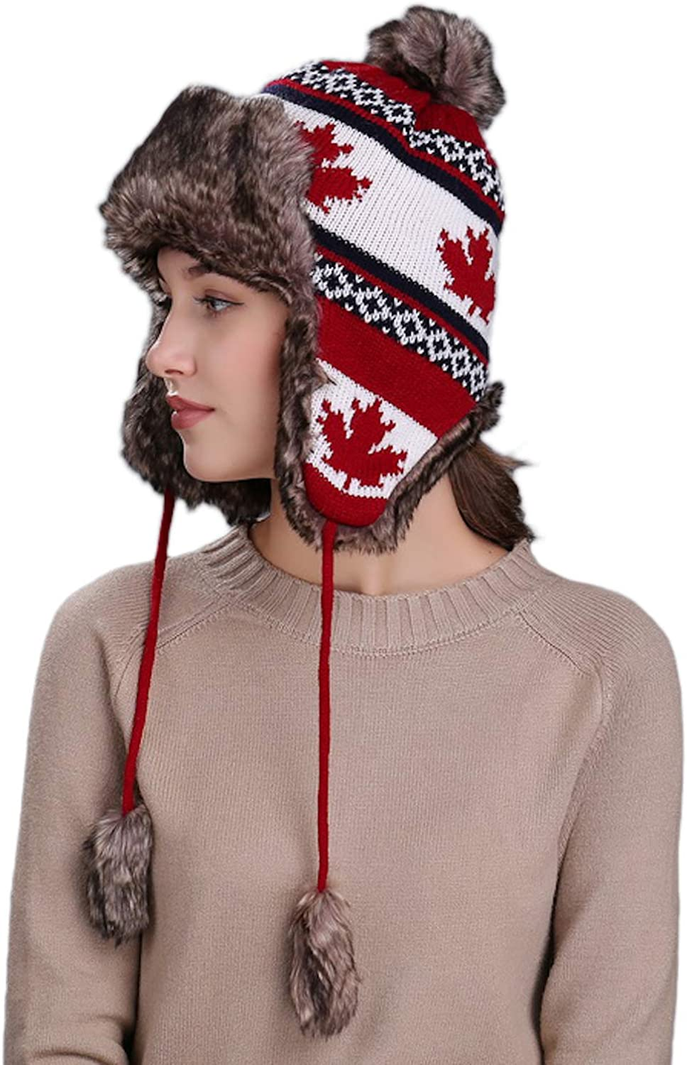 60cm ADULT PERUVIAN TRAPPER WINTER KNITTED FAUX FUR HAT 3 COLOURS SIZES 58cm