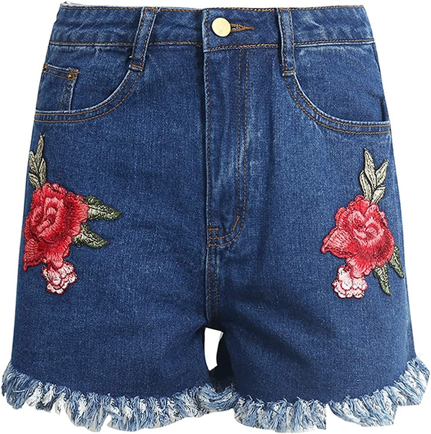 Show-Show-Fashion-pants Flower Embroidery high Waist Denim Shorts Women Casual Zipper tas,Blue,S