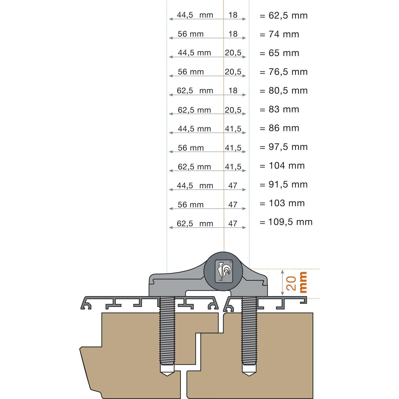 silber eloxiert Türband HAHN 4 2-teilig 20//65//58 mit Ankerschraube