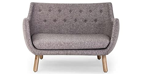 Kardiel 1946 Parlor Mid-Century Modern Sofa, Deco Grey Vintage Tailored Twill