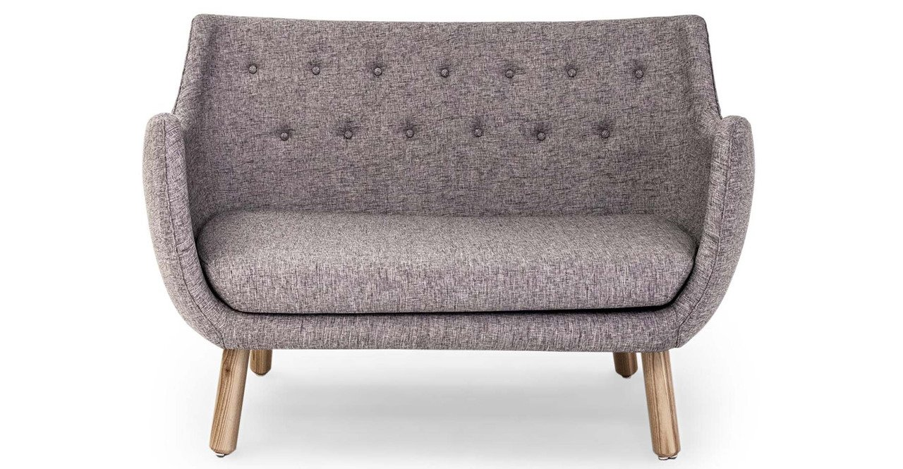 Kardiel 1946 Parlor Mid-century Modern Sofa, Deco Grey Vintage Tailored Twill