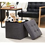 "Ellington Home Foldable Tufted Linen Storage Ottoman Cube Foot Rest Stool/Seat - 15"" x 15"" (Charcoal)"