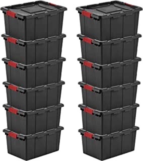 product image for Sterilite 14649006 15G Durable Rugged Industrial Tote w Latches, 12 Pack (Black)