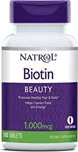 Natrol Biotin Beauty Tablets, Promotes Healthy Hair, Skin & Nails, Helps Support Energy Metabolism, Helps Convert Food Into Energy, 1,000mcg, 100 Tablets