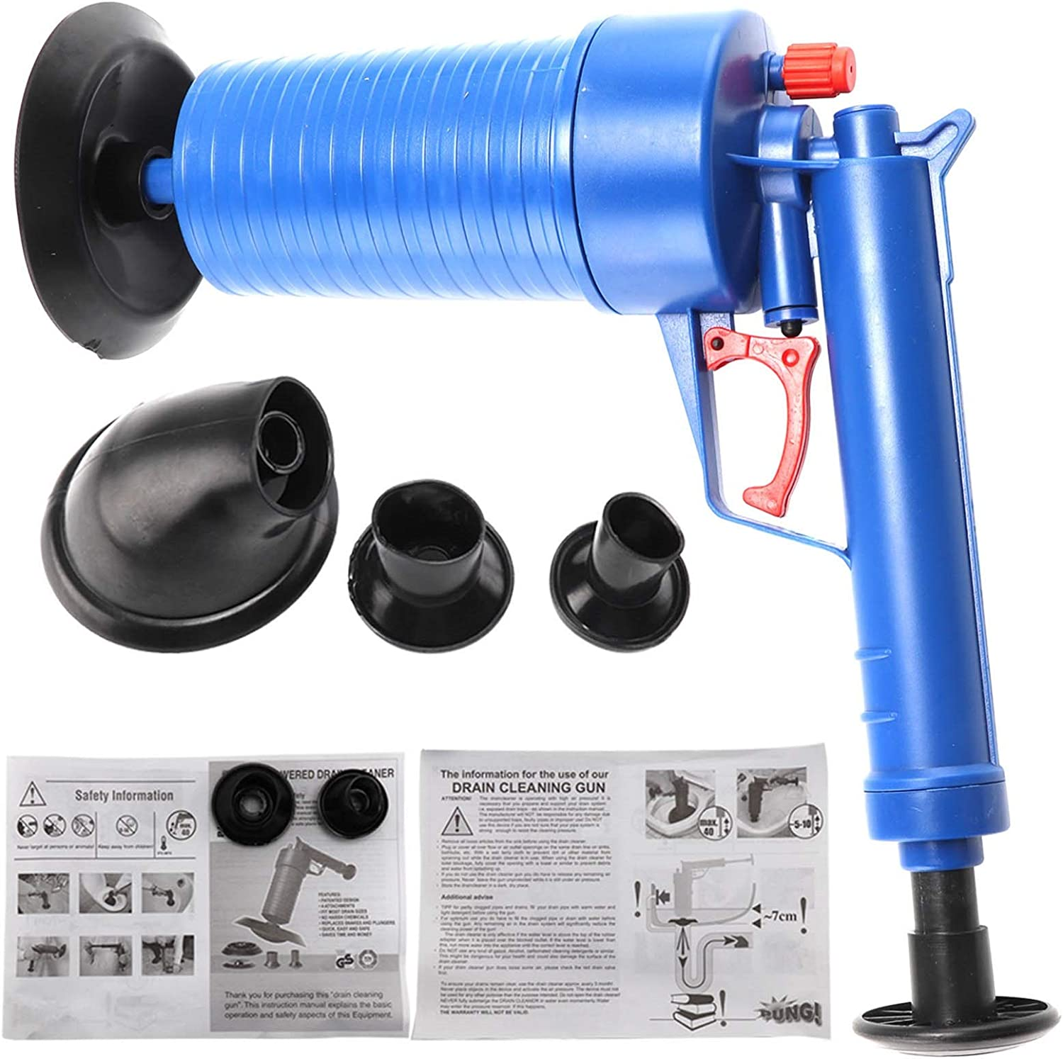 9cm Sink Plunger Toilet Plunger Kitchen Sink Sewer Dredge Tool Wiht 4 Suction Cups 28.6 Trintion Drain Cleaning Tool Toilet Plunger 28.6