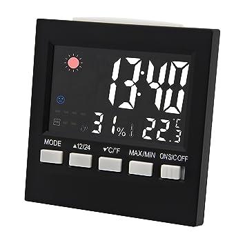 Termómetro digital Higrómetro Medidor de humedad con temperatura y humedad con reloj despertador: Amazon.es: Hogar