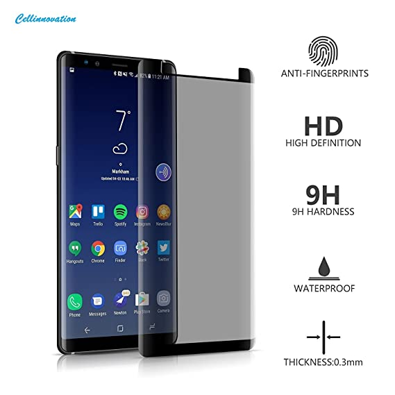 Galaxy Note 8 Privacy Screen Protector, 9H Hardness - Bubble Free & Easy to  Install – Black Tint Protector Curved Samsung Note 8 Tempered Glass