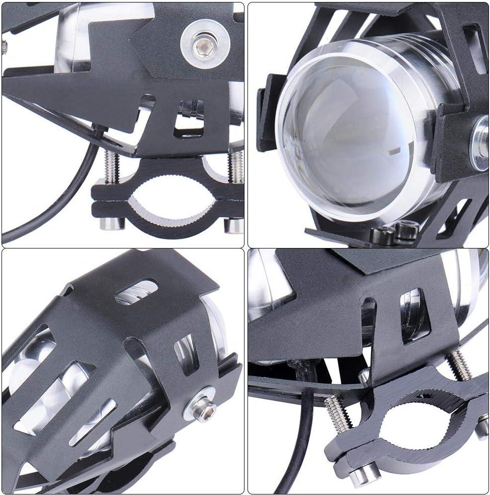 Class-Z 2pcs 125W Phare Moto Feux Additionnels LED Phares Avant Moto Anti Brouillard Projecteur Spot LED Moto 3000LM Etanche pour Moto Quad Scooter
