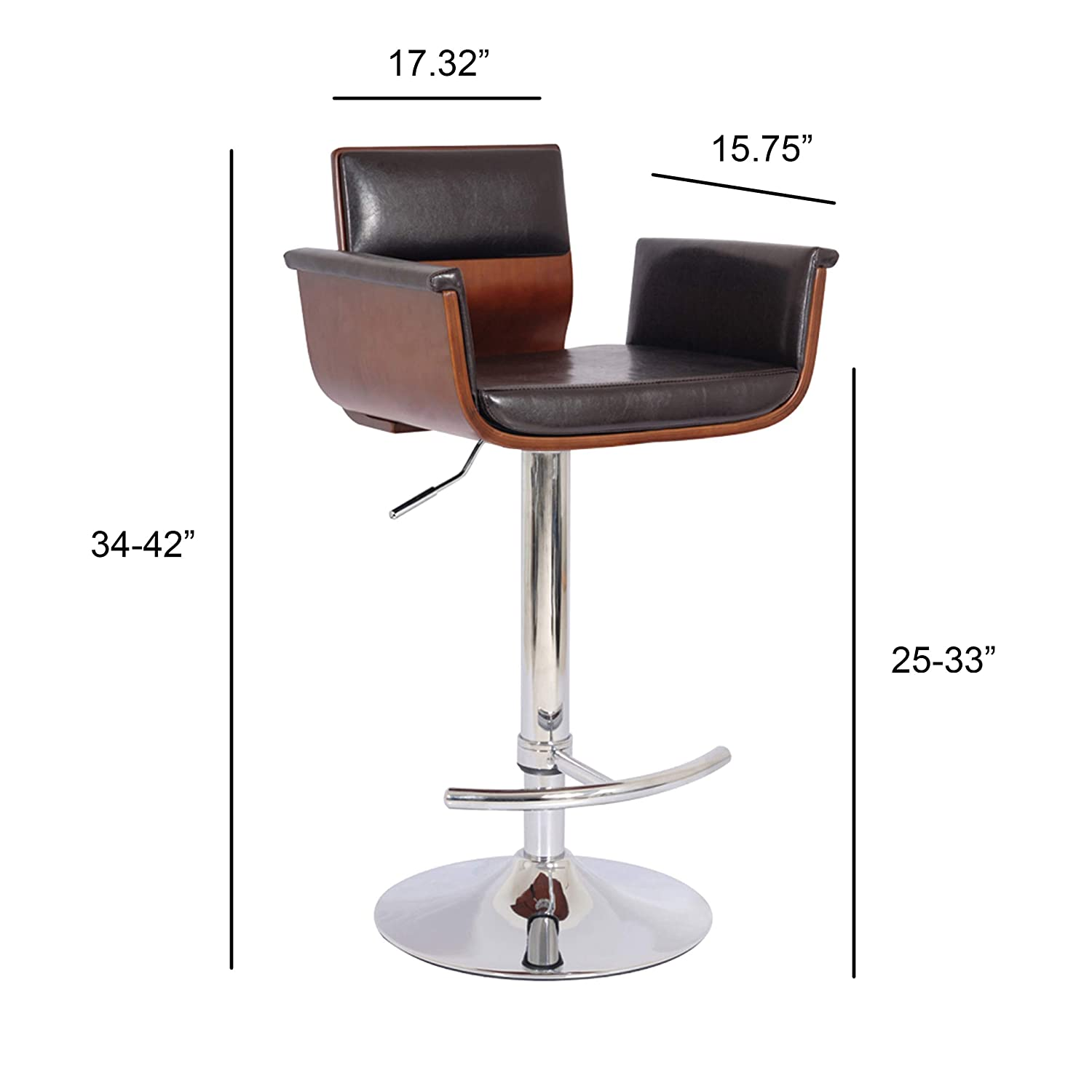 Fabulous Bentwood Adjustable Swivel Barstool Cherry Wood Finish And Shiny Black Polyurethane And Chrome Base With Curved Seat And Back Pabps2019 Chair Design Images Pabps2019Com