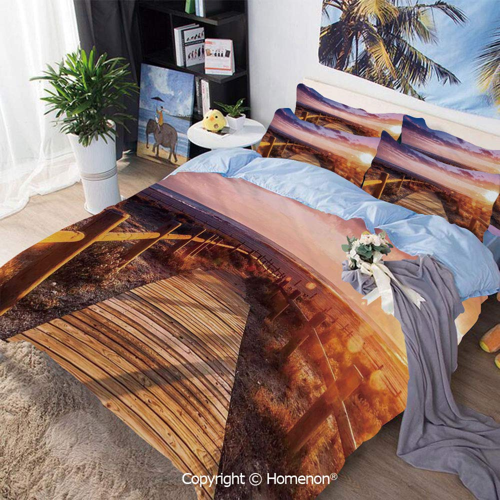 Home Fashion Designs 3-Piece Set,Sunset with Clouds in Cabo de Gata Nijar Natural Park Bridge Way with Fences,Full Size,for Bedroom Guest Room,Multi